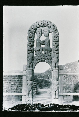View of the the early construction of the carved g...