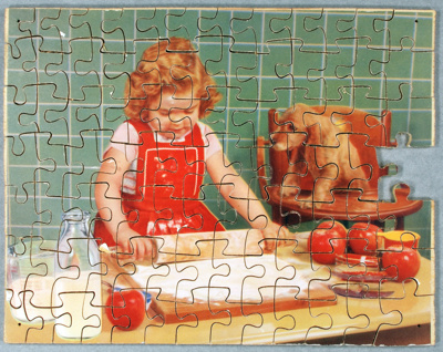 This 90 piece wooden jigsaw (missing one piece) fe...