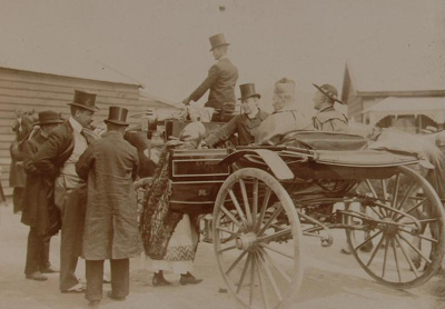 Catholic Dignitaries aboard a horse drawn carriage...