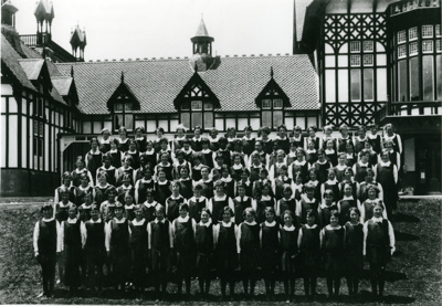Foundation pupils, girls of Rotorua High School; Unknown; 1927; CP-3210