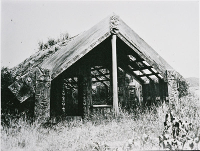 View of Te Arawa House, no longer in use and surro...