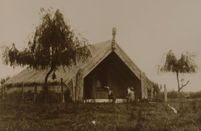 View of Edward Payton sketching in front of Whakau...