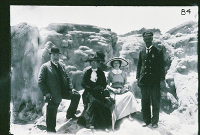 Tourists at Wairoa Geyser, Circa 1910, GP-205
