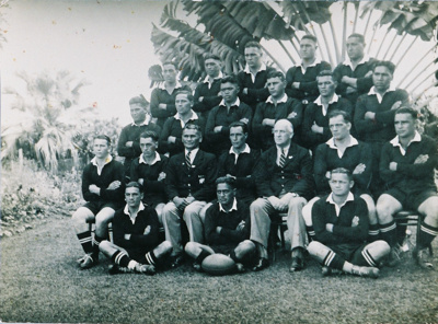 Group photo at an angle of the Maori Rugby Team in...