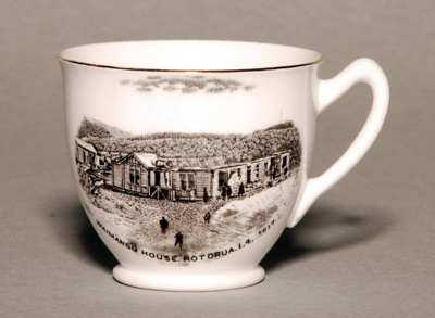 Medium teacup with drawing of Waimangu House, Rot...
