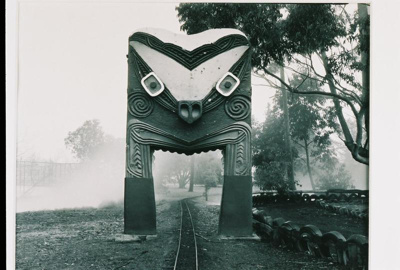 View of the carved Maori style gateway in Kuirau P...