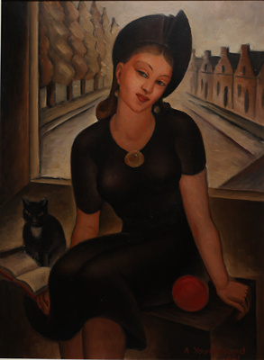Young Woman and a Cat; Adele Younghusband (b.1878, d. 1969); 1941; 1990.36.12