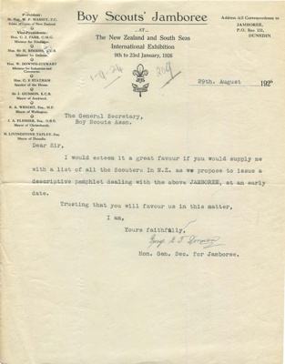 1926 - 1st Dominion Jamboree promotion request; 1924