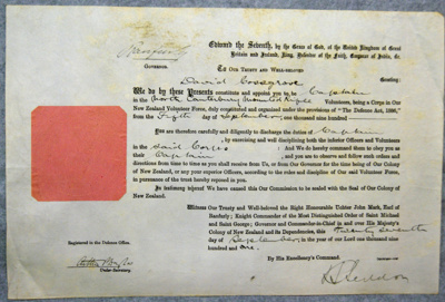 1901 Cossgrove's commission to the North Canterbury Mounted Rifles