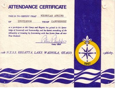 1967 Sea Scout Regatta participation certificate