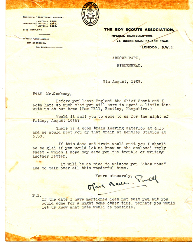 1929 Invitation To Visit The Baden Powell S On Ehive