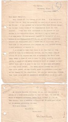 Correspondence Baden-Powell to Cossgrove; 1909