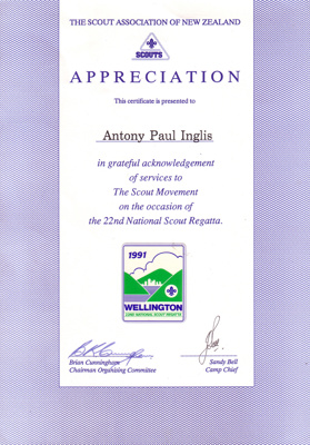 1991 National Sea Scout Regatta certificate for services