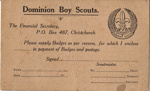 1910 Scout badge order card