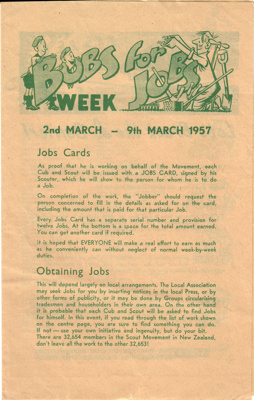 1957 Bob-a-Job campaign pamphlet for Scouts