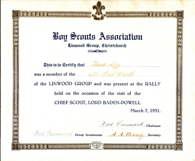 1931 Linwood certificate for Baden-Powell Rally; 1931; W 98/94