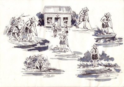 Scouting washed sketches; John Stuart Hay; 1960's