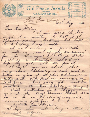 1914 - Auckland District Girl Peace Scout letterhead