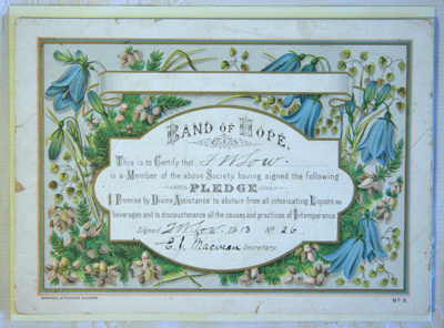 'Band of Hope' temperance pledge; Band of Hope Society (English, estab. 1847); 1913; XFH.87