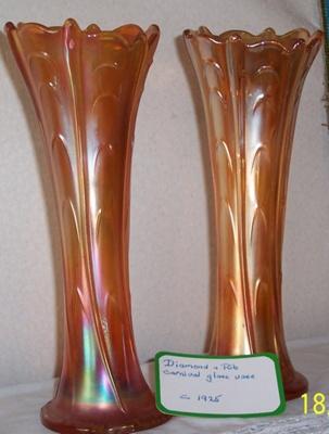 Carnival glass vases; 28.2011
