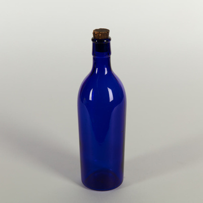 Bottle, Tall Blue with Cork Stopper; Unknown manufacturer; Unknown; WY.1996.59.50