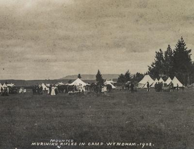 Postcard, Murihiku Mounted Rifles in Camp, Wyndham, 1908; Unknown photographer; 1908; WY.1991.12