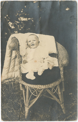 Postcard, Baby in Wicker Chair; Unknown; 1910-1920; WY.0000.1377