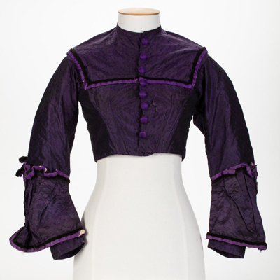 Bodice, Purple; Unknown maker; 1870-1873; WY.2000.26