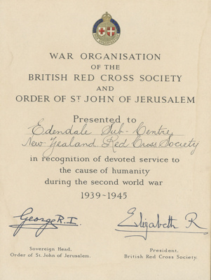 Certificate, Edendale Red Cross Society; Unknown printer; 1953; WY.0000.1148
