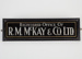 Nameplate, R.M. McKay & Co; Unknown manufacturer; 1930-1940; WY.0000.1198