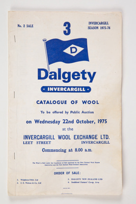 Archives, Dalgety Invercargill Wool Sale Catalogue; 1975; WY.1998.18