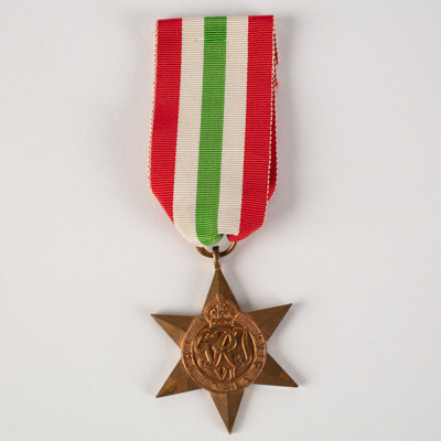 Medal, Military Service 1943-1945 The Italy Star T Templeton; Unknown manufacturer; 1945; WY.1995.12.6