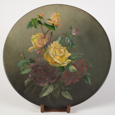 Oil Painting, Roses on Tin; Mary Jane Richardson; 1920-1930; WY.1989.418.2