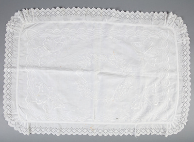 Pillow Sham, Embroidered Broderie Anglaise; Unknown maker; 1910-1920; WY.0000.263
