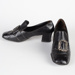 Shoes, Black Leather Heels; Unknown maker; 1960-1970; WY.0000.123.1