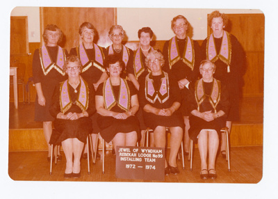 Photograph, Jewel of Wyndham Rebekah Lodge No 99 Installing Team 1972-74; Unknown photographer; 1972-1974; WY.2013.8.81