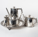 Tea and Coffee Service, with Salver presented to Dr J A R Menzies 1875; Brush & Drummond, Melbourne; Martin, Hall & Co; 1872; WY.2019.1
