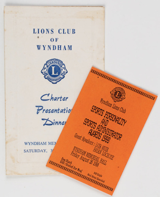 Archives, Wyndham Lions Club; 1966-1988; WY.2000.30