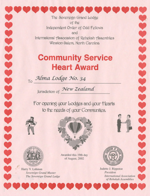 Certificate, Community Service Heart Award Presented to Alma Lodge; Unknown manufacturer; 2002; WY.2013.8.74