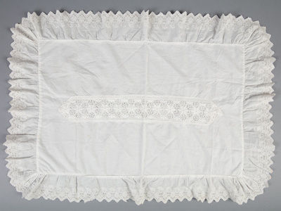 Pillow Sham, Ornate Broderie Anglaise ; Unknown maker; 1910-1920; WY.0000.351
