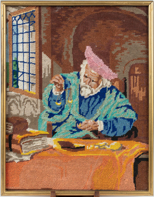 Embroidered Picture, Framed Man Weighing Gold ; Phyll Mitchell; 1970-1980; WY.2015.2.2
