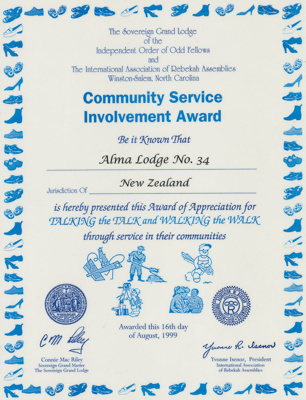 Certificate, Community Service Involvement Award Present to Alma Lodge; Unknown manufacturer; 16.08.1999; WY.2013.8.76
