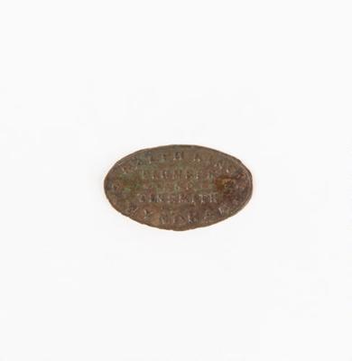 Nameplate, Ralph King Plumber & Tinsmith; Unknown manufacturer; 1914-1918; WY.0000.183