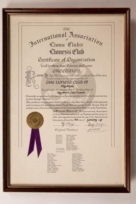 Certificate, Framed Lioness Club of Wyndham 1980; Unknown maker; 11.01.1980; WY.2015.7.2