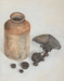 Pastel Drawing, Still Life Pot with Kitchen Scales [In Copyright]; Marshall, Jean; 1974-1988; WY. 1997.41.2