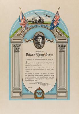 Certificate, Private Harry Scobie.; W Smith Printer; 1944; WY.1989.424
