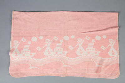 Blanket, Baby's Pink and White; Unknown manufacturer; 1950-1960; WY.0000.157