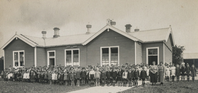 Photograph, Wyndham School, large number of students and 2 teachers all standing outside.; Unknown photographer; Unknown; WY.1988.230.5
