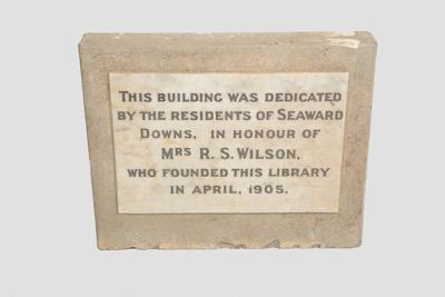 Commemorative Stone, Seaward Downs Library; WY.0000.1365