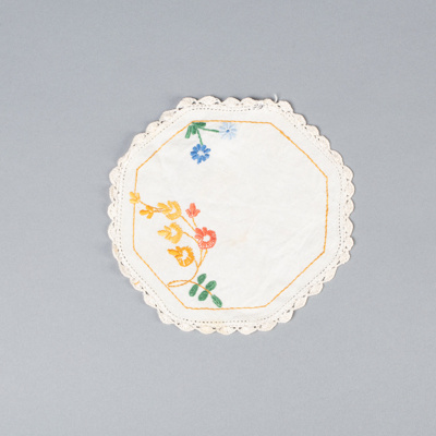 Embroidered Mat, White with Orange Decorations; Batt, Dorothy; 1950-1960; WY.2010.7.7